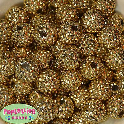 20mm Gold metallic rhinestone Bubblegum Beads sparkly gumball jewelry 20 - Gold Gumballs