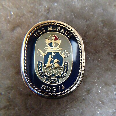 USN USS MCFAUL DDG 74 Hat Lapel Collar Pin Tie Tac Navy Guided Missile Destroyer