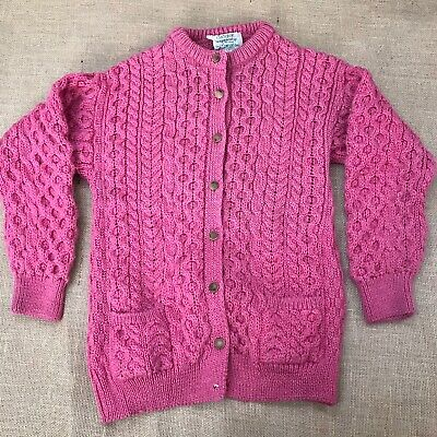 Womens Irish Wool Cardigan Sweater Size L? Pink Button Crochet Made In Ireland