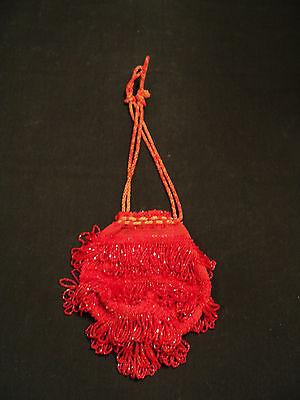 1920s Style Purses, Flapper Bags, Handbags  VINTAGE 1920's  RED BEADED FLAPPER BAG / HANDBAG $75.00 AT vintagedancer.com