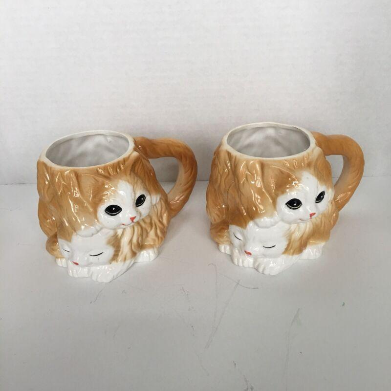 "Two Vintage SEYMOUR MANN 3D - ""Pretty Kitty"" Cat Coffee Cups/Mugs - 1990"