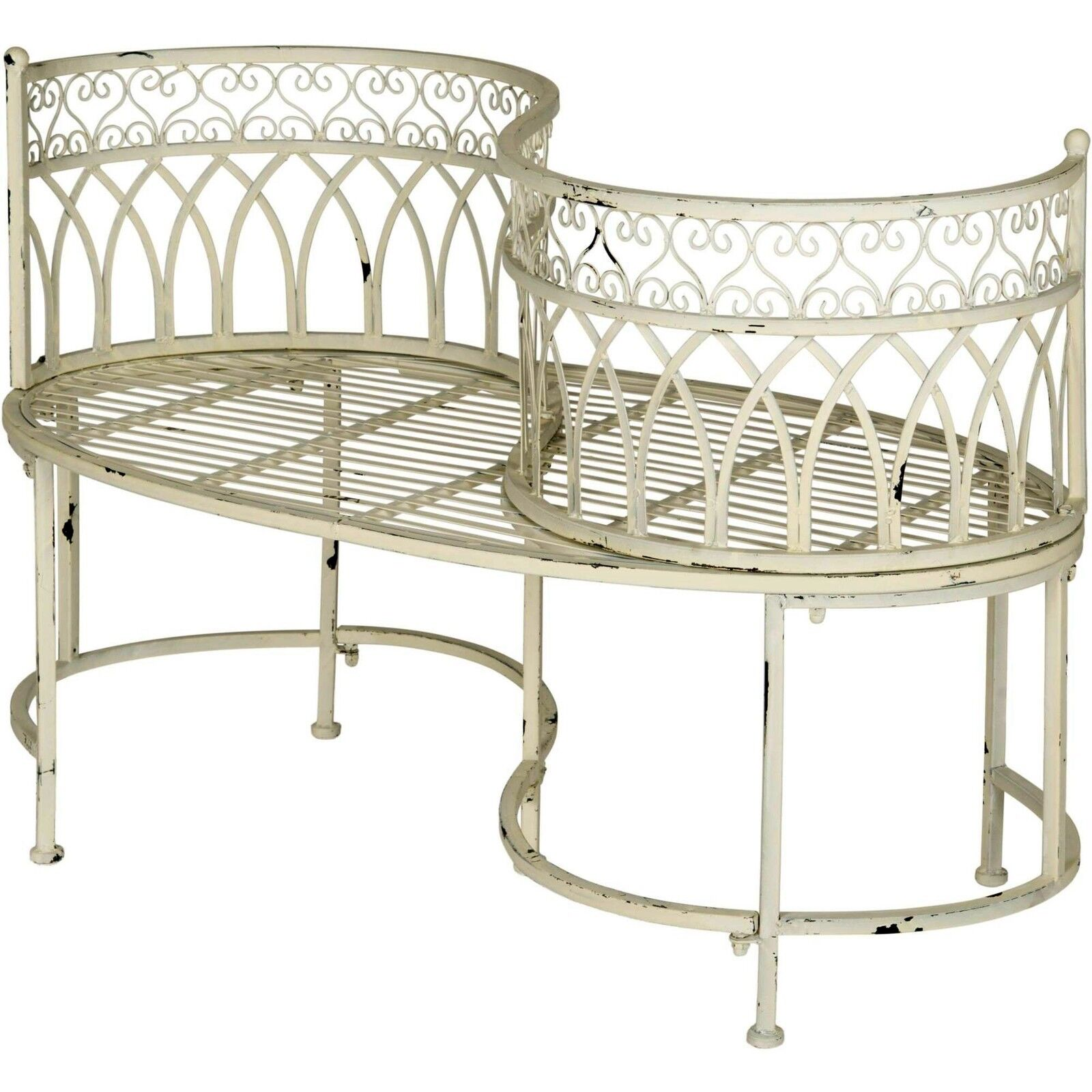 Details About Kissing Bench Curved Metal Tete A Tete Garden Chair Outdoor Vintage Patio Seat