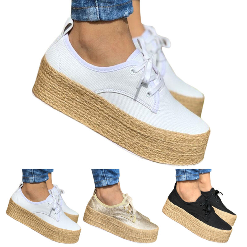 Women Platform Sneakers Canvas Lace Up High Wedge Comfort Tr