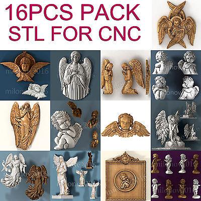 3d Stl Model Relief 16 Pcs Pack For Cnc Router Artcam Angels