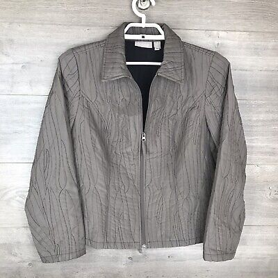 Chico's Women's Size 1 Medium Zip Up Lightweight Jacket Taupe Stitched