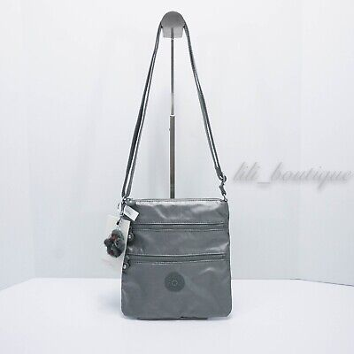 NWT Kipling AC8103 Keiko Crossbody Shoulder Mini Bag Nylon Metallic Stoney Grey