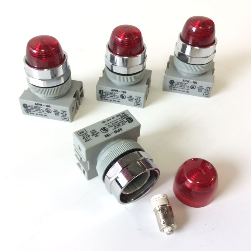 Lot of 4 Idec APW-199 Red 22mm LED Pilot Indicator Illuminated Light 24VAC/DC