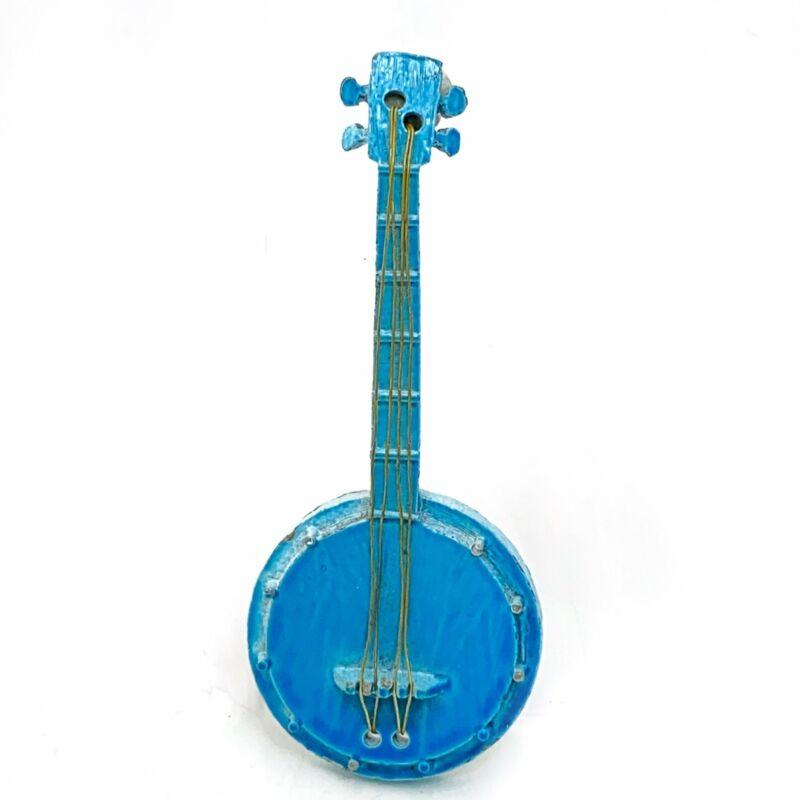 Vintage Banjo Brooch Blue Enamel Bluegrass Pin Signed JJ Jonette Jewelry