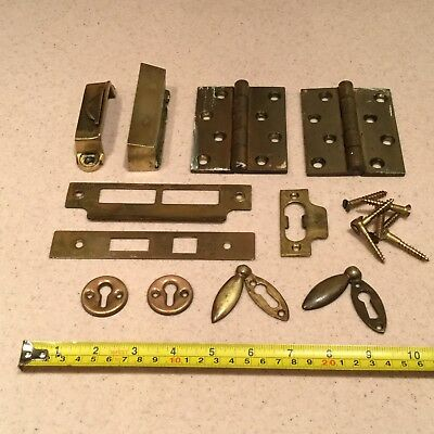 Antique Brass Door Furniture Hardware Old Hinges Key Cover etc Job Lot Reclaimed