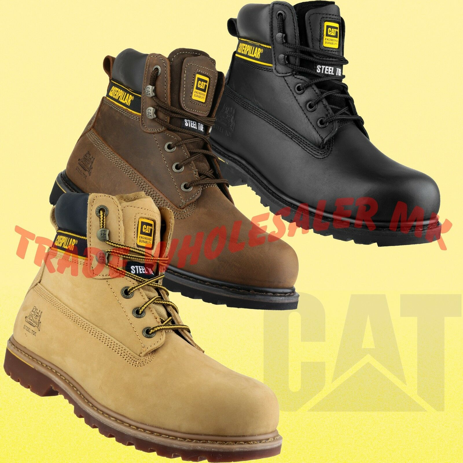 Caterpillar Mens Holton Steel Toe /& Midsole Safety Boot S3