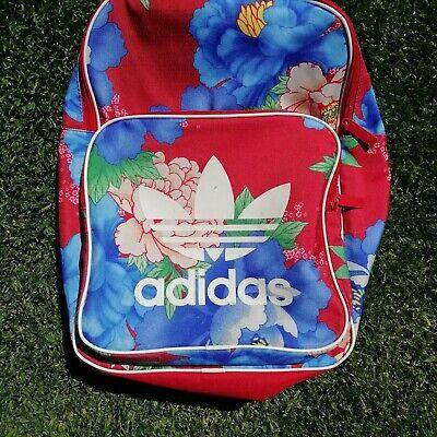 Adidas originals floral backpack Rucksack Bag Red blue flowers