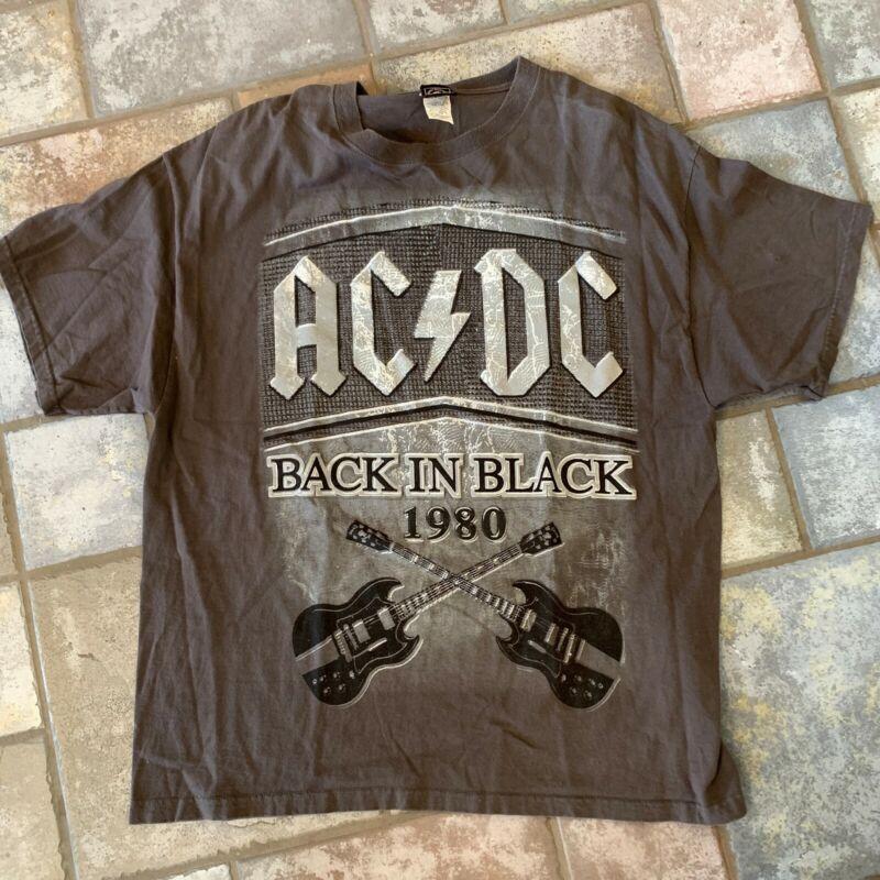 AC/DC BACK IN BLACK 1980 SG GUITARS ORIGINAL VINTAGE REPRO 2007 T-SHIRT XL