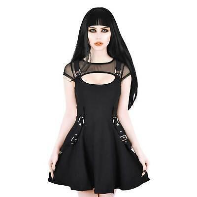 KILLSTAR Kounter Kulture Skater Dress Gothic Kleid Schwarz Tellerrock Riemen