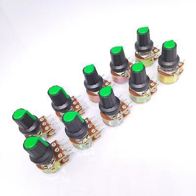 10 Units 50k B50k Ohm Linear Taper Rotary Dual Potentiometer Pot Green Knob