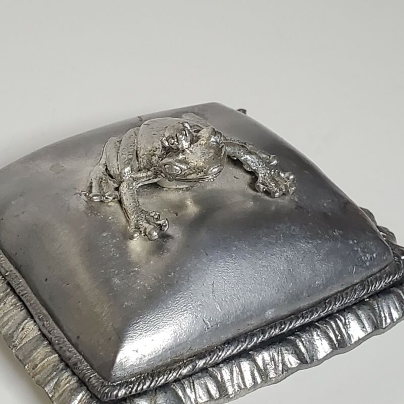 Metzke Frog Pewter Trinket Lidded Dish Vintage Crown Prince Pillow Jewelry Box