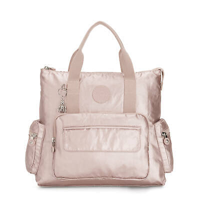 Kipling Alvy 2-in-1 Convertible Tote Bag Backpack Metallic Rose