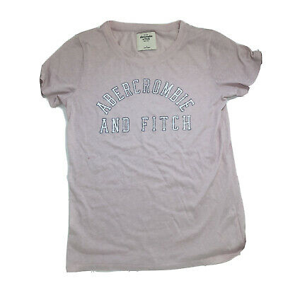 Abercrombie & Fitch New York Pink Tee Shirt Women's Size Large White Logo