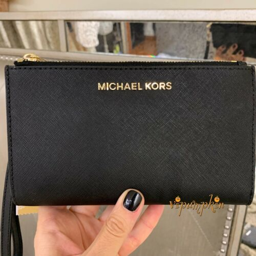 Michael Kors Jet Set Travel Double Zip Wristlet Leather Phone Case Wallet Black