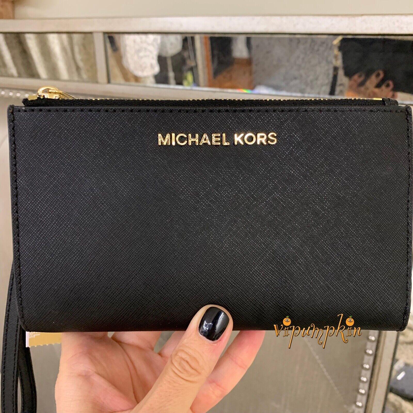 Michael Kors Jet Set Travel Double Zip Leather Wallet Phone Wristlet Black