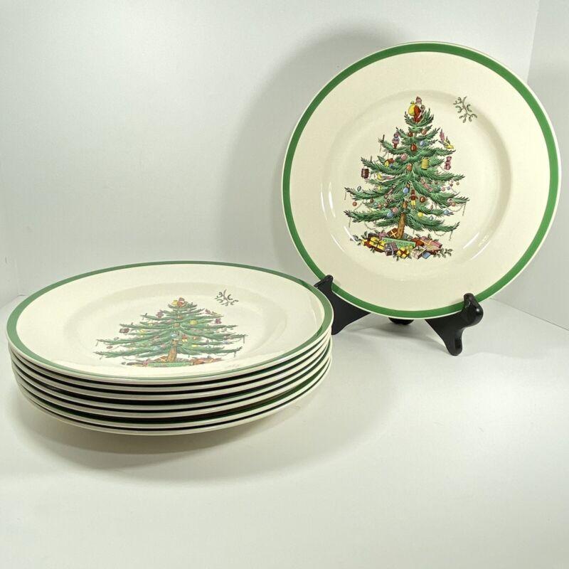 "Spode Christmas Tree Santa Qty 8 Dinner Plates 10 3/4"" England Holiday Gift"