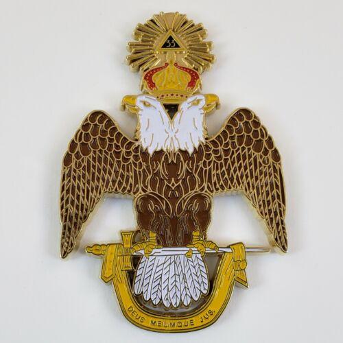 Auto Emblem Scottish Rite 33 Cut Out Metal Enamel Masonic Freemason Mason