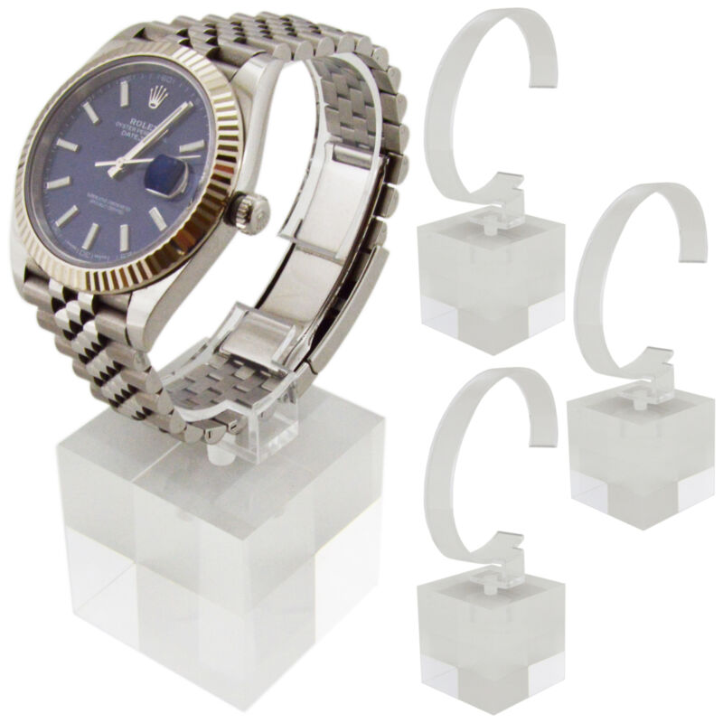 4 Pack of Crystal Clear Watch Stands with Sturdy Acrylic Weighted Base