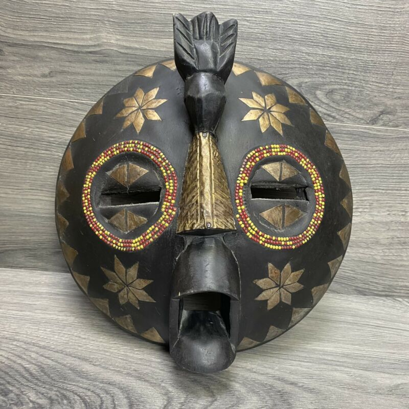Decorative Wood African Tribal Mask Handcrafted in Ghana Round Black Gold Beaded