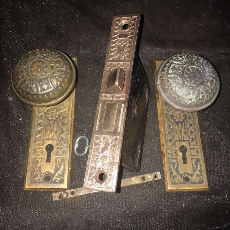 Antique Victorian Brass Sargent Eastlake Lockset With Skeleton Working Key #5