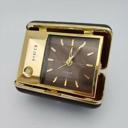 Vintage Lite Alarm Bulova Travel Alarm Clock Wind Up Battery Light Works