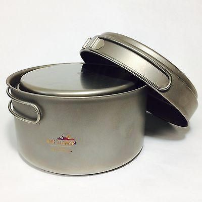 AMG Titanium Lightweight Uncoated Best Camping Cookware Pot Set 2Pcs Backpacking