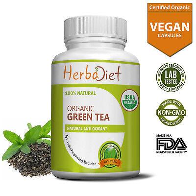 Organic Green Tea Leaf Powder Capsules Antioxidant with EGCG & Polyphenols ()