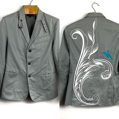 G BY GUESS- Mens Sz M Gray Cotton Large Hummingbird Graphic Button Jacket -