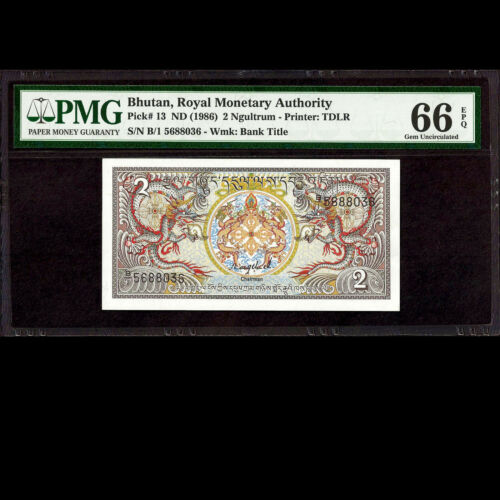 Royal Monetary Authority of Bhutan 2 Ngultrum ND 1986 PMG 66 GEM UNC EPQ P-13