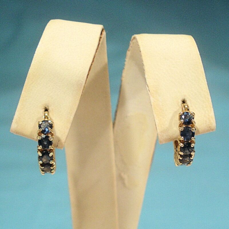 SOLID 14K YELLOW GOLD & BLUE SAPPHIRES HOOP EARRINGS FOR PIERCED EARS