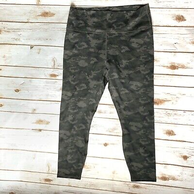 Fabletics Women XL 12-14 Power Hold Legging Pant High Waist 7/8 Gray Green Camo