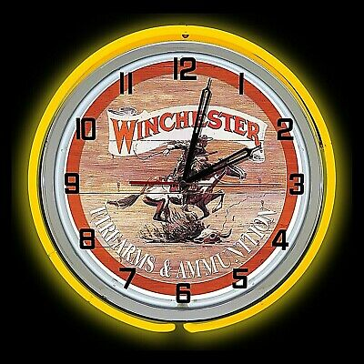 """19"""" Winchester Firearms & Ammunition Sign Double Neon Clock Yellow Neon Chrome"""