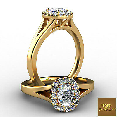 Halo French Pave Cushion Cut Diamond Engagement Solitaire Ring GIA F VVS2 0.7Ct