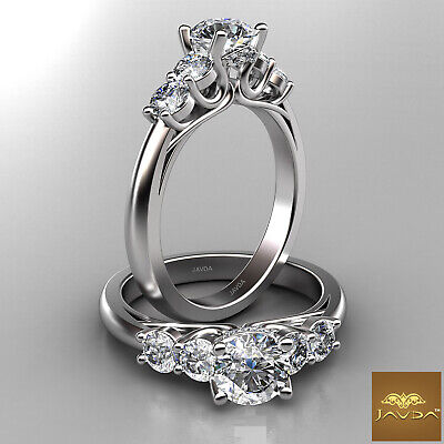 5 Stone Prong Trellis Setting Round Cut Diamond Engagement Ring GIA H VS2 1.22Ct