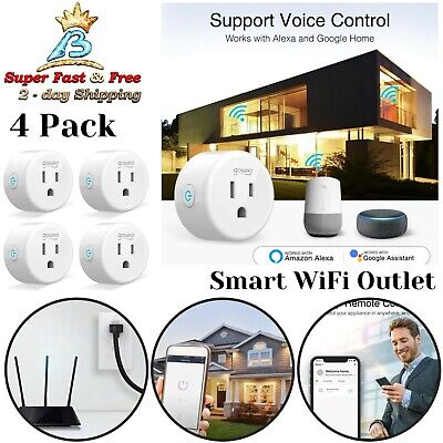 4 Pack Device Control Smart Plug Smart WiFi Outlet Works Alexa Google Home NEW