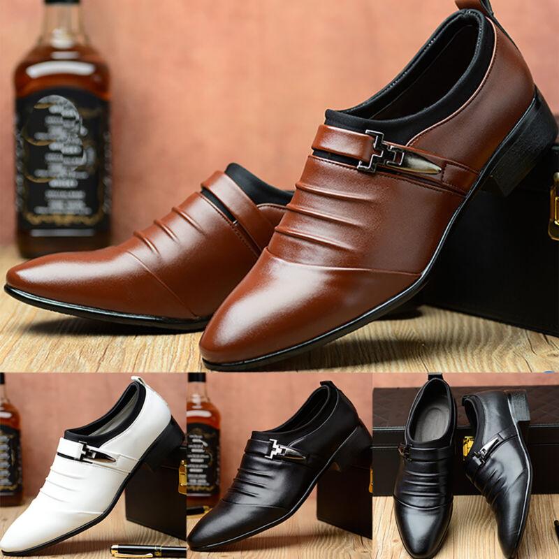 Herren Business Formal Arbeit Lederschuhe Spitz Schlüpfen Loafers Lackschuhe