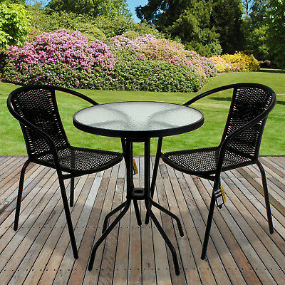 Garden Furniture - Black Wicker Bistro Sets Table Chair Patio Garden Outdoor Furniture Diner Home