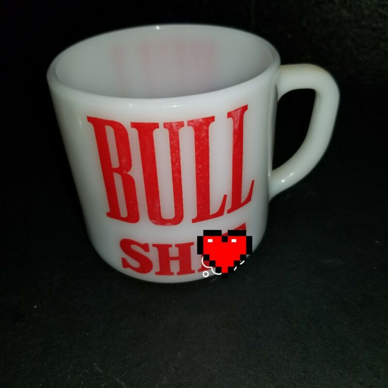 """Mugs Milk Coffee Cups Glass Federal White """"Bull Sh*t"""" Novelty made in USA"""
