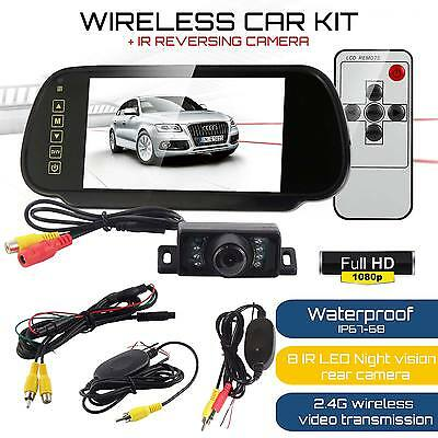 "WIRELESS CAR BUS VAN REAR VIEW KIT 7"" LCD MIRROR MONITOR + IR REVERSING CAMERA"