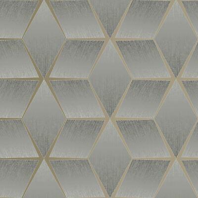 Texturizado Geométrico Gris/Plata 310610 Rasch Pintado - Metálico Stars Cubos