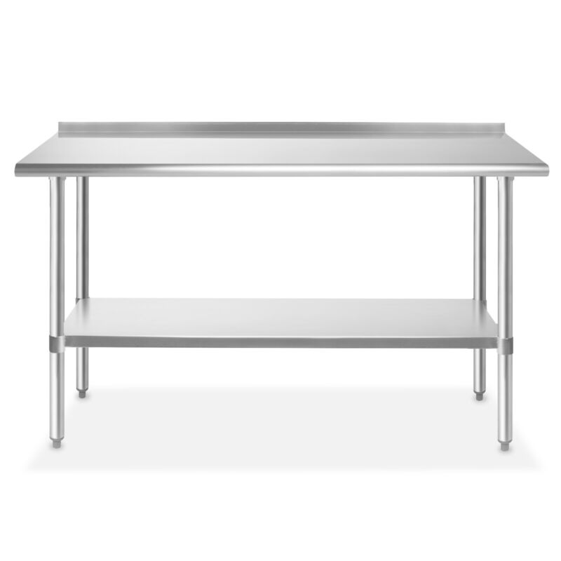 "Stainless Steel 24"" x 60"" NSF Restaurant Kitchen Prep Work Table with Backsplash"