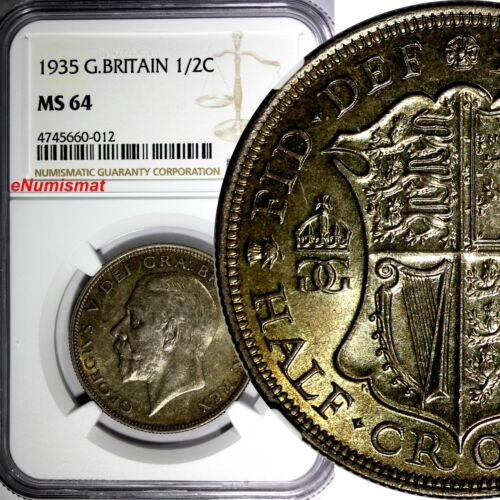 Great Britain George V Silver 1935 1/2 Crown NGC MS64 NICE TONING  KM# 835