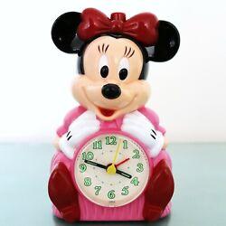 RHYTHM MUSICAL! Alarm Mantel CLOCK Vintage Talking! MINNIE MOUSE Disney Restored