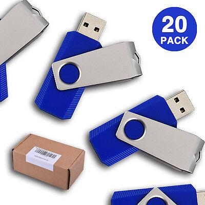 20PCS/LOT USB Flash Drive Swivel Pen Drive Non-slip Enough Memory Stick 1GB-16GB Blue Usb 20 Flash Drive