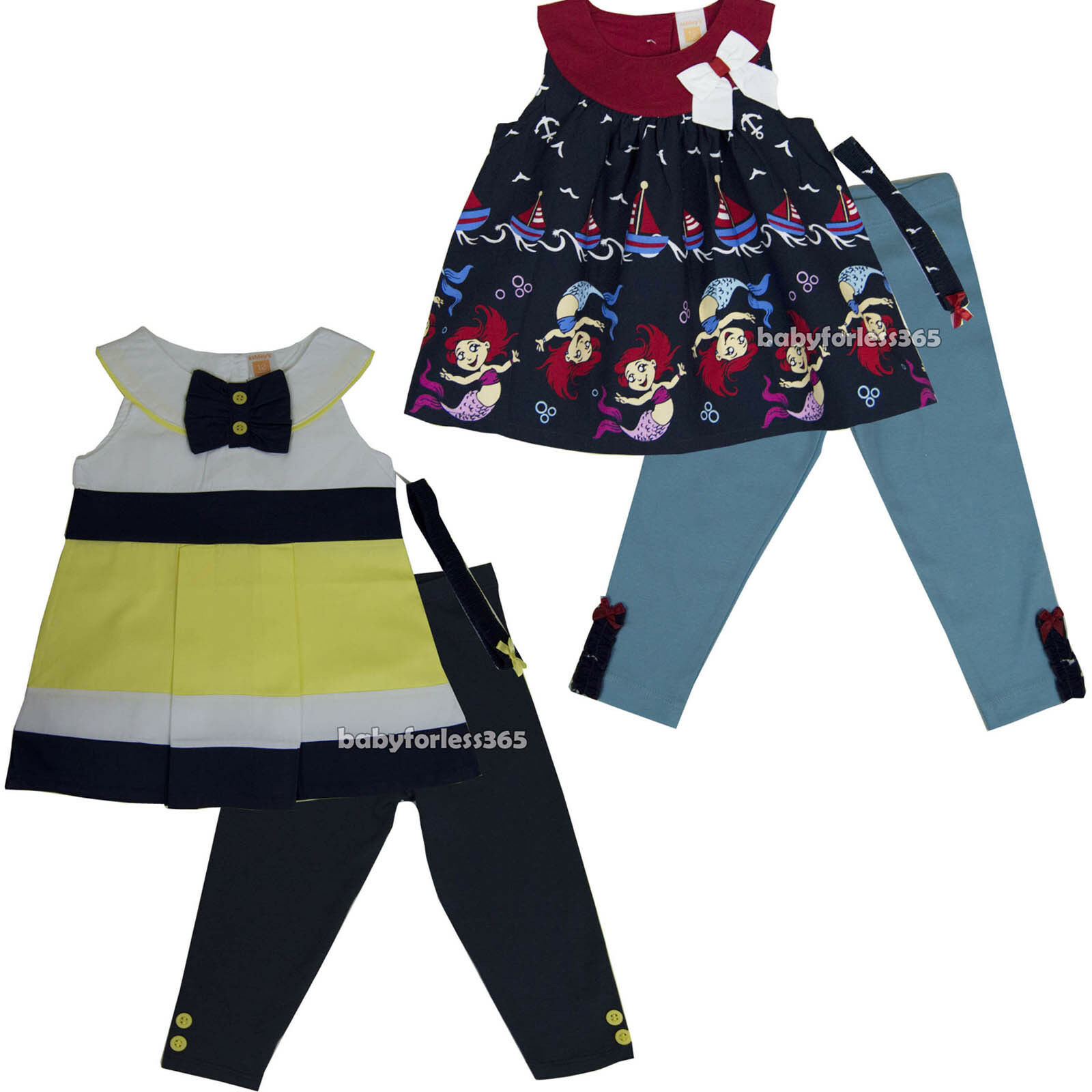 04fee55674cfc Details about New Ashley Baby Girls Outfit Clothes Headband Shirt legging  Size 12 18 24 months