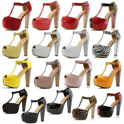 DailyShoes Women Platform Sandals Open Peep Toe T-Strap Pumps Thick Heel Shoes Peep Toe T-strap Pumps